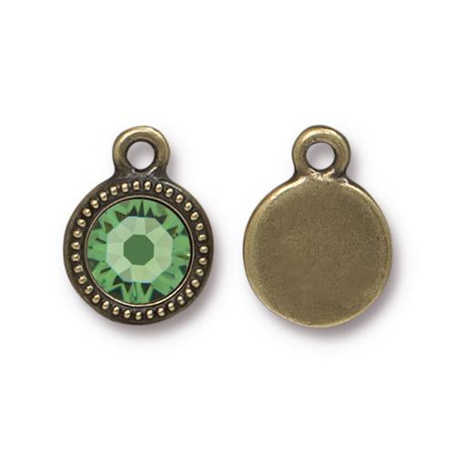 Peridot Beaded Drop, Oxidized Brass Plate, 10 per Pack