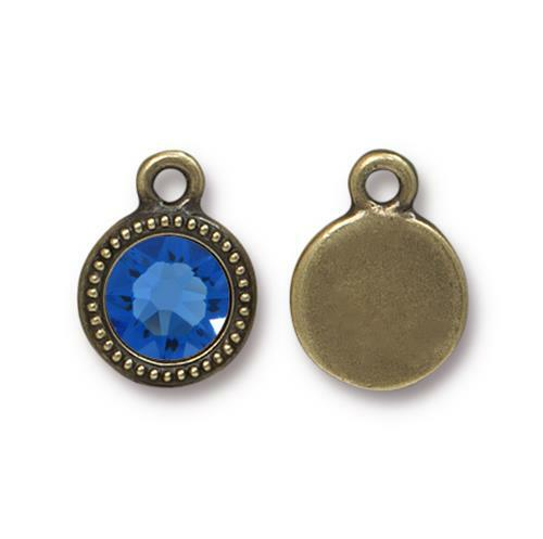 Sapphire Beaded Drop, Oxidized Brass Plate, 10 per Pack
