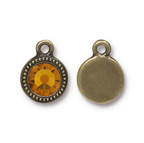 Topaz Beaded Drop, Oxidized Brass Plate, 10 per Pack