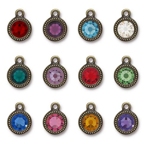 Birthstone Mix Beaded Drop, Oxidized Brass Plate, 36 per Pack