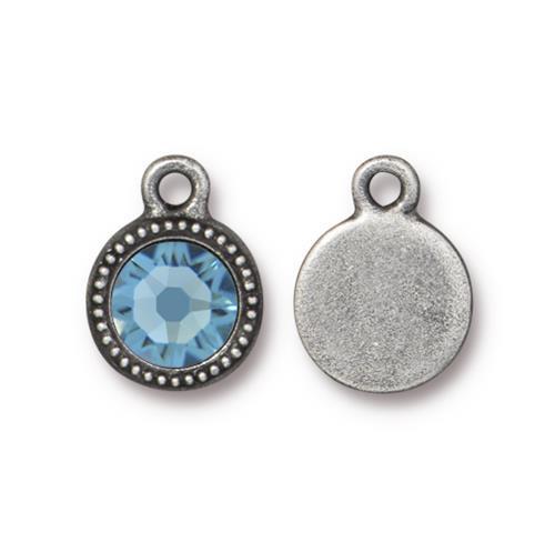 Aquamarine Beaded Drop, Antiqued Pewter, 10 per Pack