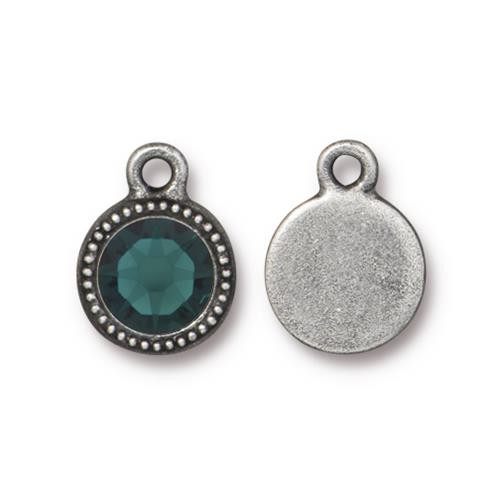 Emerald Beaded Drop, Antiqued Pewter, 10 per Pack
