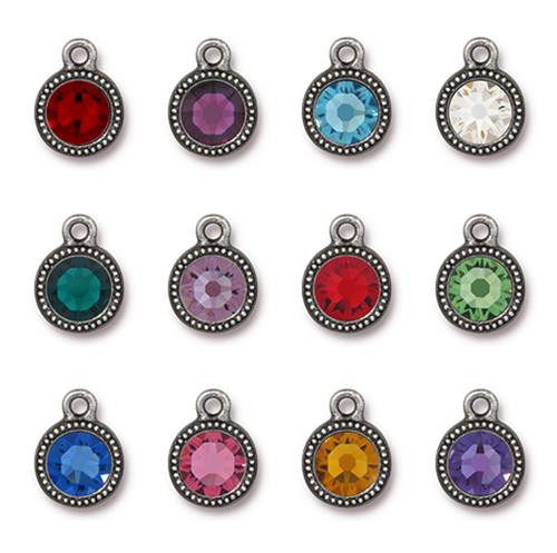 Birthstone Mix Beaded Drop, Antiqued Pewter, 36 per Pack