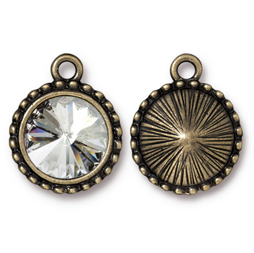 Beaded Rivoli Drop with 12mm Swarovski® Crystal, Oxidized Brass Plate, 6 per Pack