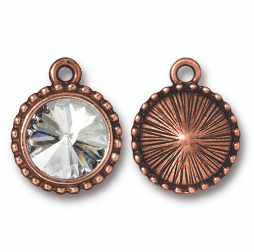 Beaded Rivoli Drop with 12mm Swarovski® Crystal, Antiqued Copper Plate, 6 per Pack