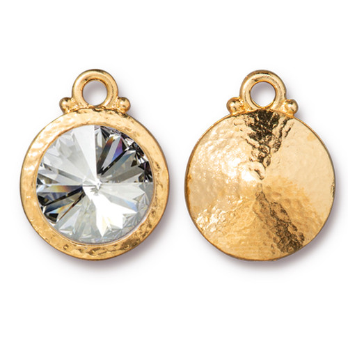 Hammered Rivoli Drop with 12mm Swarovski® Crystal, Gold Plate, 6 per Pack