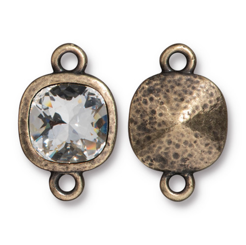 Hammered Cushion Link with 10mm Swarovski® Crystal, Oxidized Brass Plate, 6 per Pack