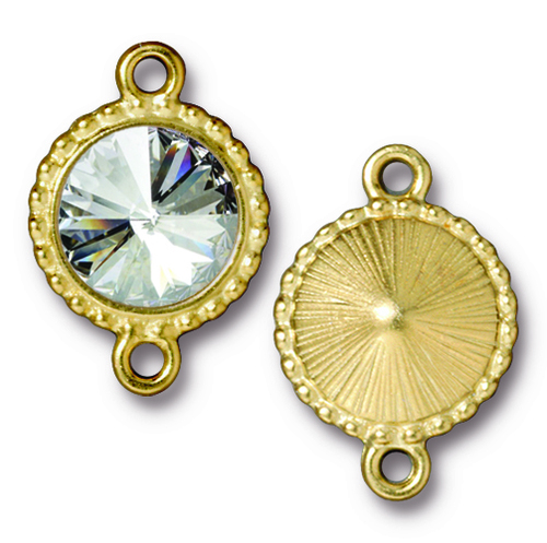 Beaded Rivoli Link with 12mm Swarovski® Crystal, Gold Plate, 6 per Pack