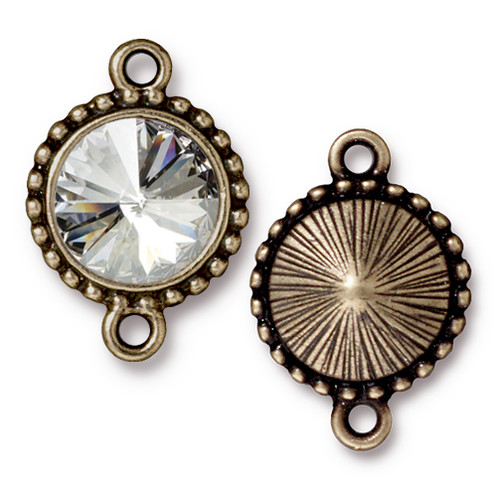 Beaded Rivoli Link with 12mm Swarovski® Crystal, Oxidized Brass Plate, 6 per Pack