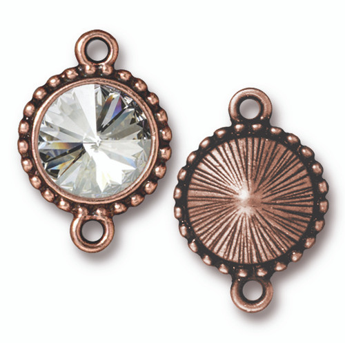 Beaded Rivoli Link with 12mm Swarovski® Crystal, Antiqued Copper Plate, 6 per Pack