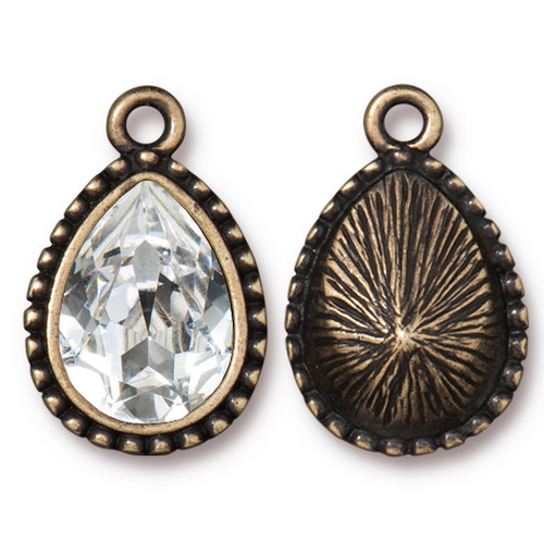 Beaded Pear Drop with 14x10mm Swarovski® Crystal, Oxidized Brass Plate, 6 per Pack