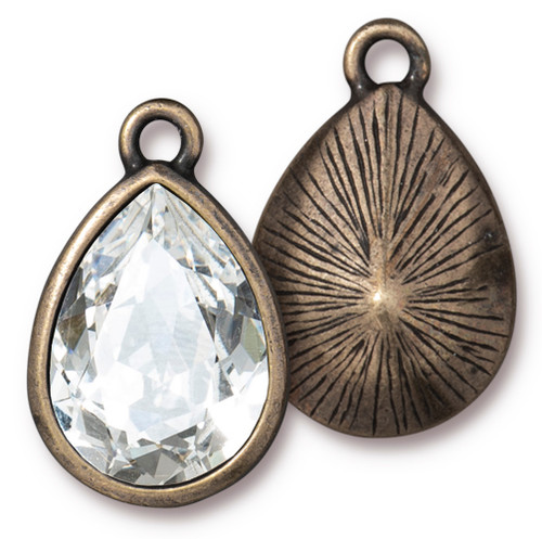Plain Pear Drop with 18x13mm Crystal, Oxidized Brass Plate, 6 per Pack