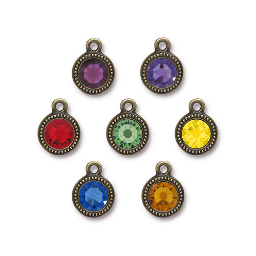 Chakra Mix Beaded Drop, Oxidized Brass Plate, 35 per Pack