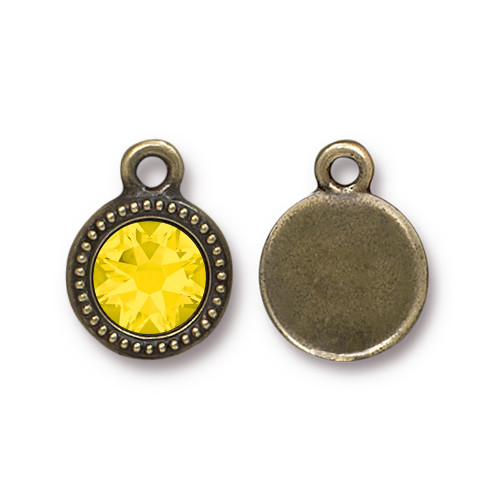 Yellow Opal Beaded Drop, Oxidized Brass Plate, 10 per Pack