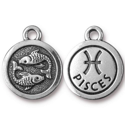 Pisces Charm, Antiqued Silver Plate, 20 per Pack
