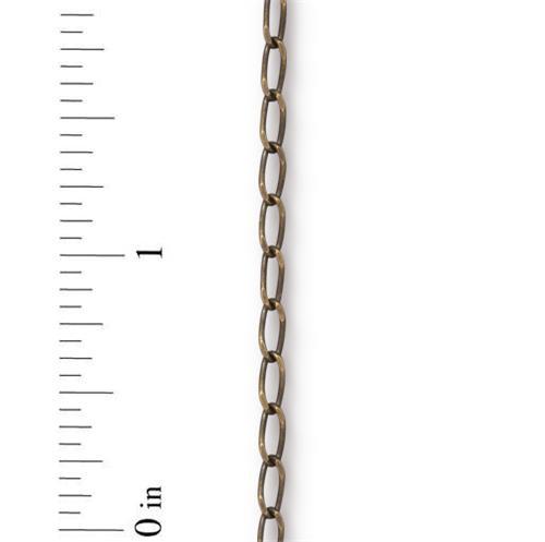 Brass Curb Chain 2.5mm, Oxidized Brass Plate, 1 per Pack