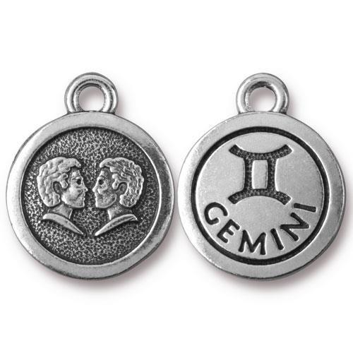 Gemini Charm, Antiqued Silver Plate, 20 per Pack