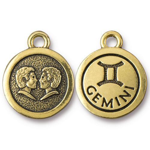 Gemini Charm, Antiqued Gold Plate, 20 per Pack