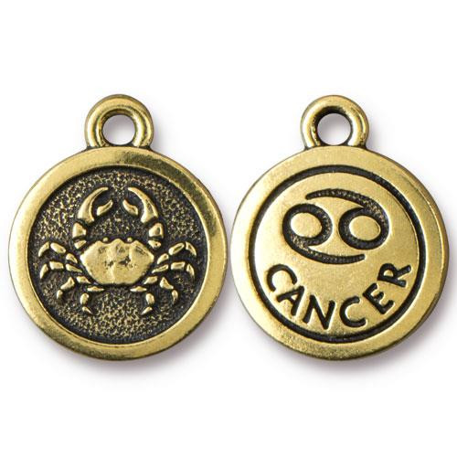 Cancer Charm, Antiqued Gold Plate, 20 per Pack