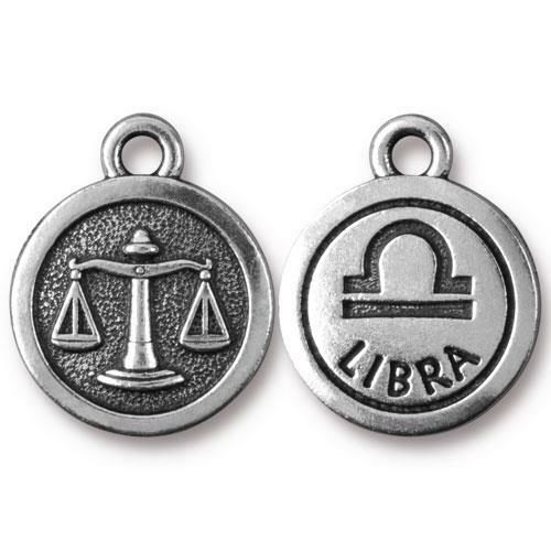 Libra Charm, Antiqued Silver Plate, 20 per Pack