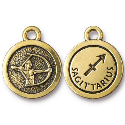 Sagittarius Charm, Antiqued Gold Plate, 20 per Pack