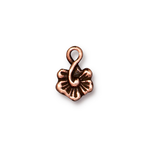 Small Blossom Charm, Antiqued Copper Plate, 20 per Pack