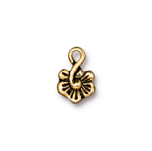 Small Blossom Charm, Antiqued Gold Plate, 20 per Pack