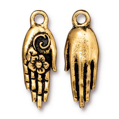 Blossom Hand Charm, Antiqued Gold Plate, 20 per Pack
