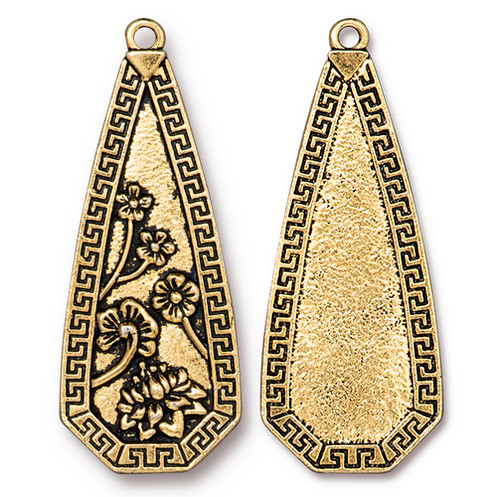Blossom Pendant, Antiqued Gold Plate, 6 per Pack