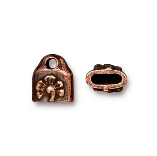 Blossom Crimp End Cap, Antiqued Copper Plate, 20 per Pack