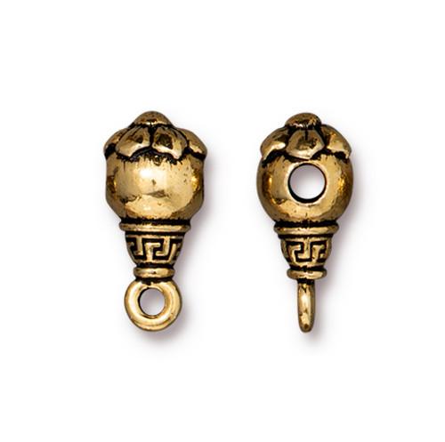 Blossom Guru Bead, Antiqued Gold Plate, 20 per Pack