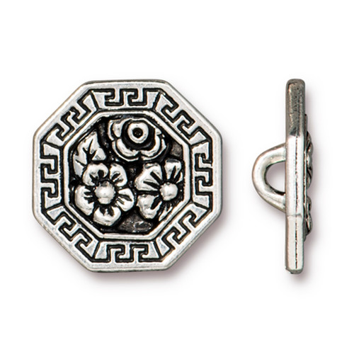 Blossom Button, Antiqued Silver Plate, 20 per Pack