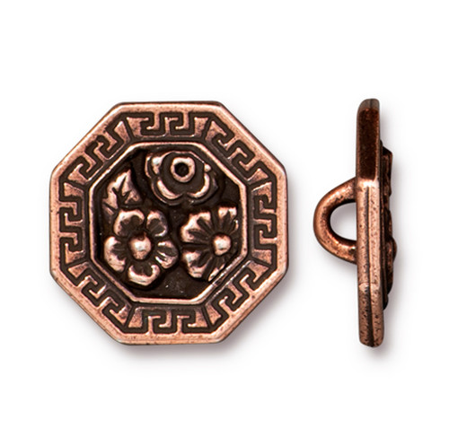 Blossom Button, Antiqued Copper Plate, 20 per Pack