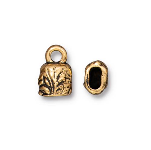 Jardin 4x2mm Crimp End Cap, Antiqued Gold Plate, 20 per Pack