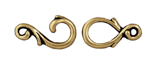 Vine Hook & Eye Clasp Set, Oxidized Brass Plate, 10 per Pack