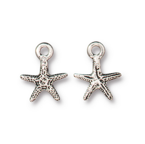 Tiny Sea Star Charm, Antiqued Silver Plate, 20 per Pack