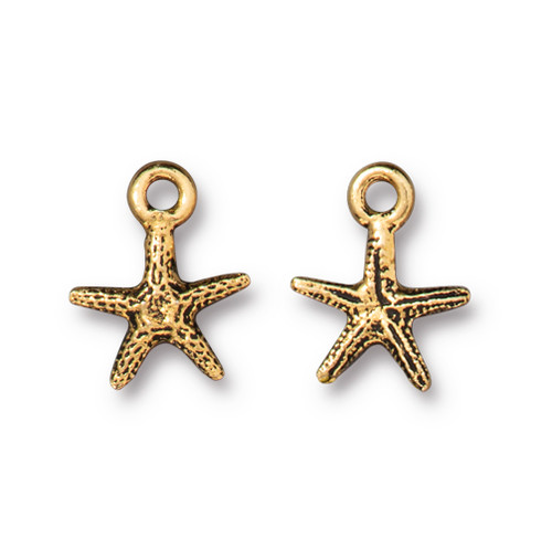 Tiny Sea Star Charm, Antiqued Gold Plate, 20 per Pack