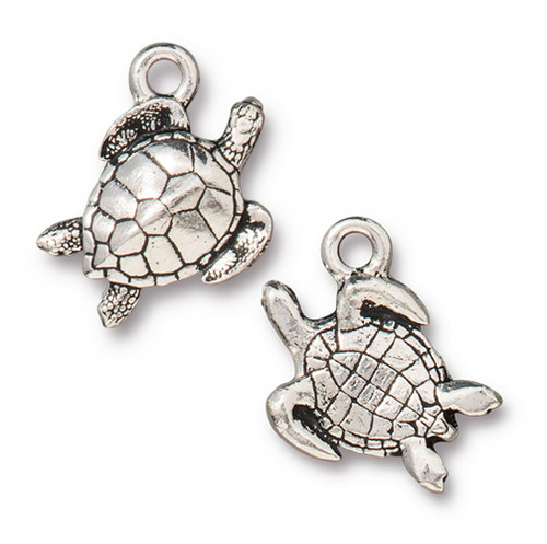 Sea Turtle Charm, Antiqued Silver Plate, 20 per Pack