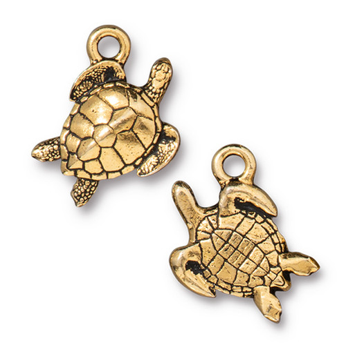 Sea Turtle Charm, Antiqued Gold Plate, 20 per Pack