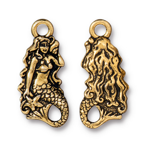 Mermaid Charm, Antiqued Gold Plate, 20 per Pack