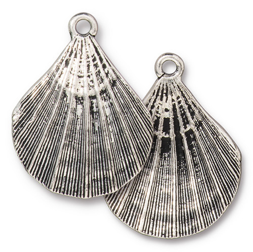 Scallop Shell Pendant, Antiqued Silver Plate, 10 per Pack