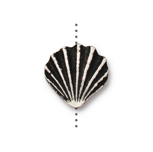 Large Shell Bead, Antiqued Silver Plate, 20 per Pack