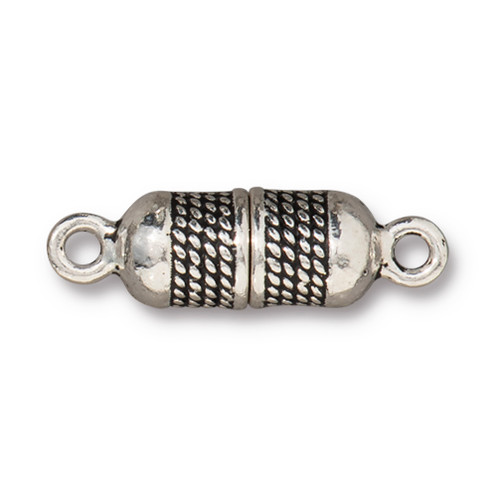 Rope Magnetic Clasp, Antiqued Silver Plate, 5 per Pack