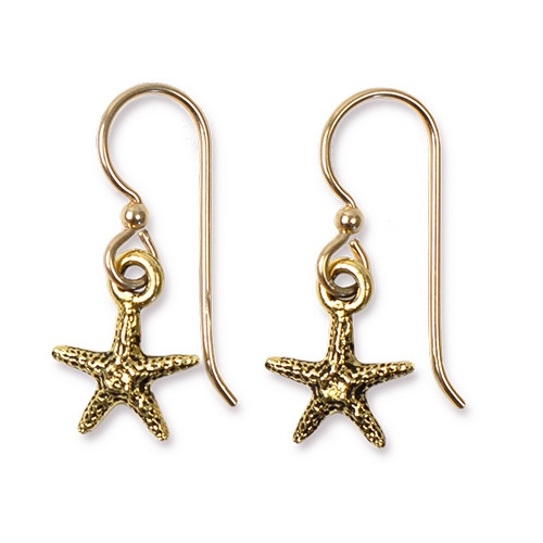 Sea Star Earrings, Antiqued Gold Plate, 3 per Pack