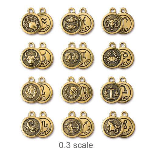 Zodiac Charm Starter Set, Antiqued Gold Plate, 1 per Pack
