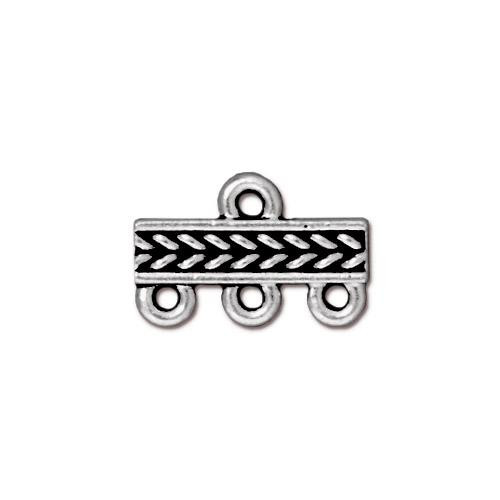 Braided 3-1 Link, Antiqued Silver Plate, 20 per Pack