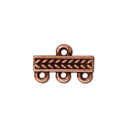 Braided 3-1 Link, Antiqued Copper Plate, 20 per Pack