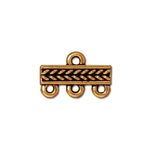 Braided 3-1 Link, Antiqued Gold Plate, 20 per Pack