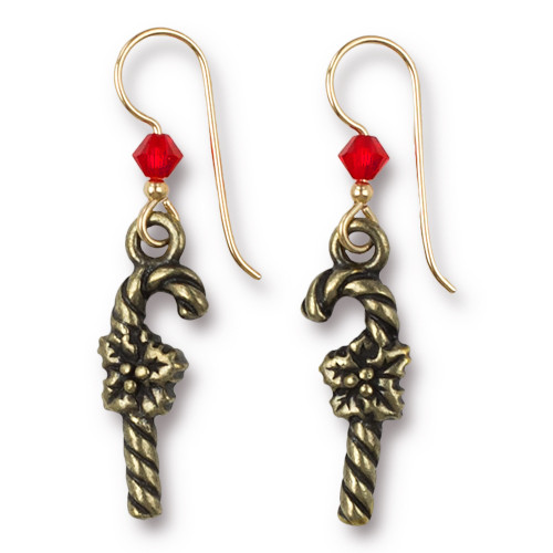 Vintage Candy Cane Earrings Swarovski ® 4mm Lt Siam Crystal, Oxidized Brass Plate, 3 per Pack