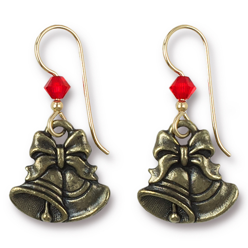 Vintage Christmas Bell Earrings Swarovski ® 4mm Lt Siam Crystal, Oxidized Brass Plate, 3 per Pack